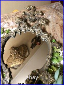 15 Vintage Pair, ORNATE BRASS MIRRORED WALL MOUNT SCONCES, Charming, RARE