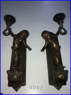 1950s Italian Solid Brass Wall Sconce Pair Cherub Putty Panel 13 Single Candle
