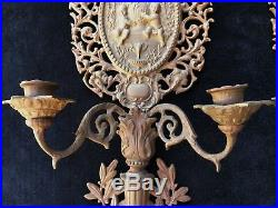 25 FRENCH CHERUB CANDLE HOLDER PAIR Vtg Brass Gold Metal Sconce Wall Decor