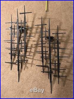 25 MCM Brutalist Metal Wall Sculpture Danish Candle Holders Jere Ellis Era Vtg