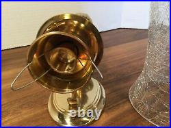 2 Brass Wall Sconce Candle Holders With Crackled Glass Hurricane -India
