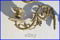 2 Fine Antique Ornate Bronze/brass Candle Holder Wall Scones Floral Pattern