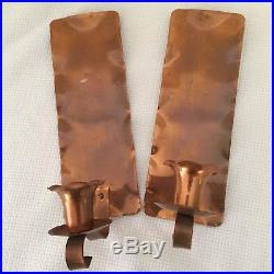 2 Glencroft Copper Candle Wall Sconces Hand Hammered Pair Candleholders Roycroft