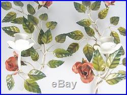 2 Jugendstil Wandkerzenhalter emailliert floral Blumen Wall Candleholders um1900
