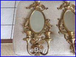 2 Large Vintage Very Heavy Brass Wall Candle Holder Sconce Fixtures 21.5 Mint C