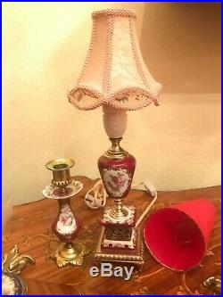2 Limoges Wall Hanging Lamps 1 Vintage Red Table Lamp 1 Vintage Candle Holder el