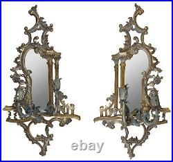 2 Maitland Smith Baroque Rococo Mirrored Wall Sconces Ornate Candle Holders 40