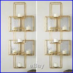 2 Modern Art Deco Bright Gold Metal Antiqued Mirrors Wall Sconce Candle Holder