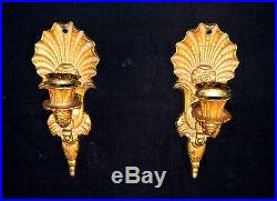 2 Old Rococo Wall mount Candlesticks Fixture Sconce Light