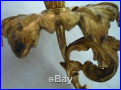 2 Original Antique Gilt Brass Candlestick Candle Holders Wall Sconce Piano