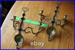 2 Solid brass Candle Sconce double arm Vintage wall mount candle holders Antique
