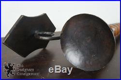 2 Spanish Revival Barley Twist Wood & Wrought Iron Wall Sconce Candle Holders