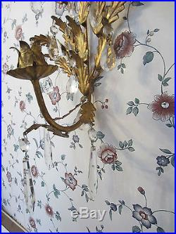 2 VINTAGE pair ITALIAN TOLE Wall CANDLE HOLDERS GOLD LEAF prisms toleware Italy