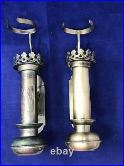 2 VTG Spring Loaded Brass Candle Adjustable Holder Sconce Wall Mount with Tops