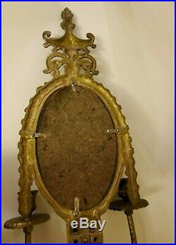 2 Vintage Brass Glo-Mar ArtWorks Wall Sconces with Mirror & Candle Holders