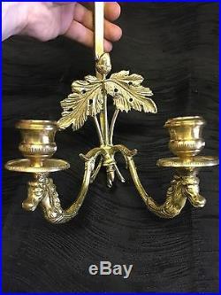 2 Vintage Brass Wall Mount Plate Holders Adjustable Oak Leaves Candle Sconces