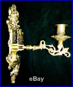 2 x Wall Mounted Candle Holder Brass Light, Rotatable Burnished, Baroque 1082261