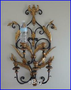 33 Antique Wrought Iron Gold Gilt 5 Sconce Candelabra Candle Holder Wall Mount