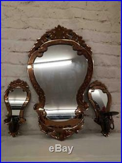 3Pc Venetian Wall Mirrors Bronze Etched Layered Glass Candle Holders Glam