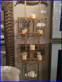 47 Modern Art Deco Bright Gold Metal Antiqued Mirrors Wall Sconce Candle Holder