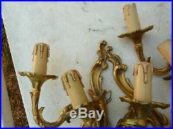 4 vintage French solid gilt bronze candle holders / wall sconces
