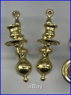 5 Piece Vintage Baldwin Solid Brass Candle Holders And Wall Sconces