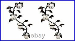 8 Glass Cup Candle Holders & Bonus Tealight Candles Set of 2 Wall Sconces-F Ship