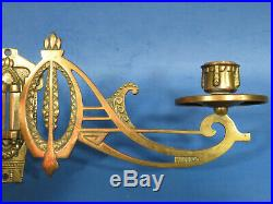 A243 TWO PAIR of ANTIQUE BRONZE ARTS & CRAFT CANDLE HOLDERS / PIANO WALL SCONCES