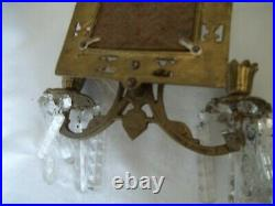 ANTIQUE MIRROR & BRASS, Prisms CANDLE HOLDER Wall Sconce DOLPHINS 21 x 9 1/2
