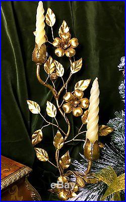 A Golden Floral Tole Candelabra Wall Sconce from Italy