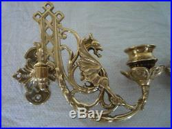 A Pair Of Brass Gothic Decor Griffin Candle Sconces Wall Candle Holders A