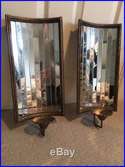 A Pair of Mirrored Wall Sconce Candle Holders