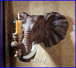 African Elephant Set of 2 Candle Holder Wall Sconce Sculpture Safari Art NEW