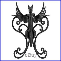 Ancient Gothic Cast Iron Antique Replica Dragon Pillar Candle Holder Wall Sconce
