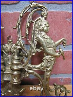 Angels Feeding Birds Antique Brass Swing Wall Mount Candlesticks Candle Holders
