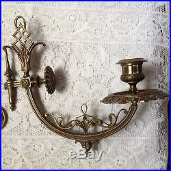 Anique Secessionist Pr French Brass Piano Wall Candle Holders, Sconces & Mounts