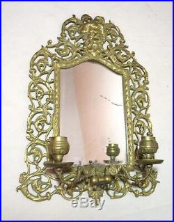Antique 1800's ornate Bacchus gilt bronze brass wall mirror candle holder sconce