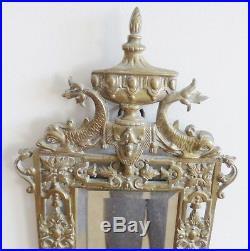 Antique 1880 Bronze Victorian Blaesius Double Wall Candle Holder Beveled Mirror