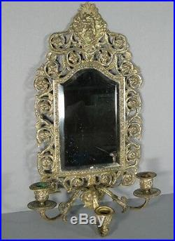 Antique Bracket Wall Bronze Style Renaissance with Mirror and Candle Holders