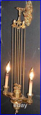 Antique Brass French Baroque Wall Lamp Candle Sconce Chain Pulley Counterweight