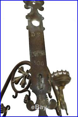 Antique Brass Gothic Revival Church 2 Candle Wall Sconce, Flemish