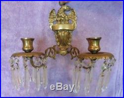 Antique Brass Wall Sconce Eagle double candle holder with hanging vintage crystals