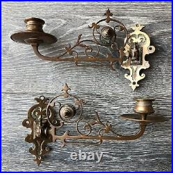 Antique Brass Wall Sconce Pair Neumeyer German Piano Candle Holder Swing Arm