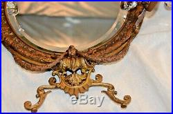 Antique Brass Wall Sconce WithCandle Holders, Victorian Design, Bevel Edge Mirror