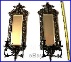 Antique Brass Wall Sconces (2) WithCandle Holders, Neoclassical Design, Mirror