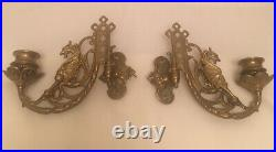 Antique Brass dragon gryphon pair of Gothic Wall sconce / piano candle holders
