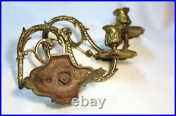 Antique Bronze Wall Mounted Double Arm Candlestick French Signed