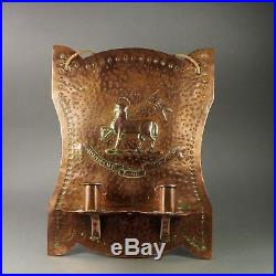 Antique Copper Arts And Crafts Wall Sconce Candle Holder Royal Surrey Regiment