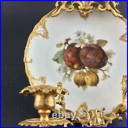 Antique French Gilt Brass Candelabra Candle Holder Wall Plaque Porcelain