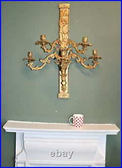 Antique French Ormolu Wall Candelabra, Rococo Sconce 5 Candle Holder Large 31.5